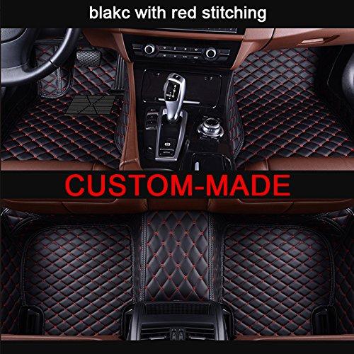 Veeleo 2018 Custom-Fit Car Floor Mats for Honda the Tenth Generation Accord Sedan 4 Doors 2018-2019 Anti-slip Faux Leather Waterproof 3D Carpets (black &red)