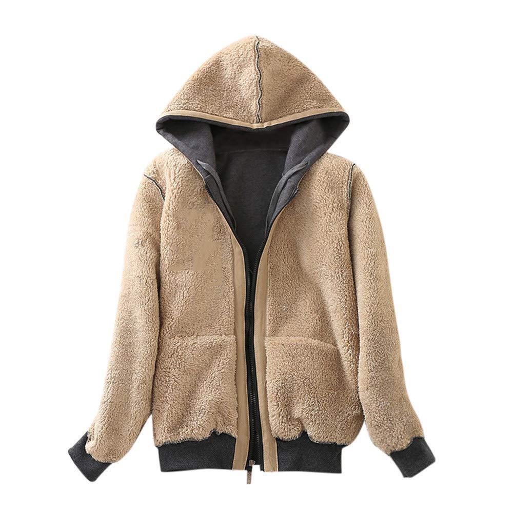 Lazzboy Jacket Coat Women Sweatshirt Warm Sherpa Fleece Lining Zipper Hooded Outerwear UK 8-14