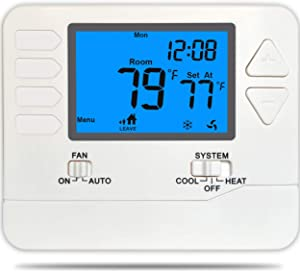 Suuwer SW715 Conventional 5-1-1-Day Programmable Thermostat,Multi-Stage 2 Heat/2 Cool, with 4.5 sq. inch Display