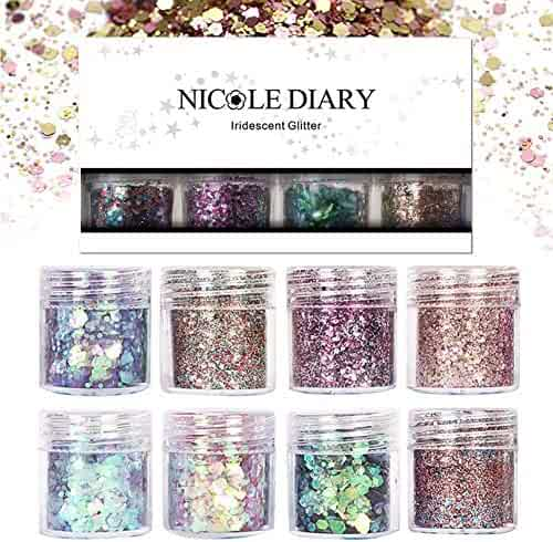 NICOLE DIARY 8 Boxes Chunky Glitter Nail Sequins Iridescent Flakes Ultra-thin Tips Colorful Mixed Paillette Festival Glitter Cosmetic Face Hair Body Glitter Nail Art