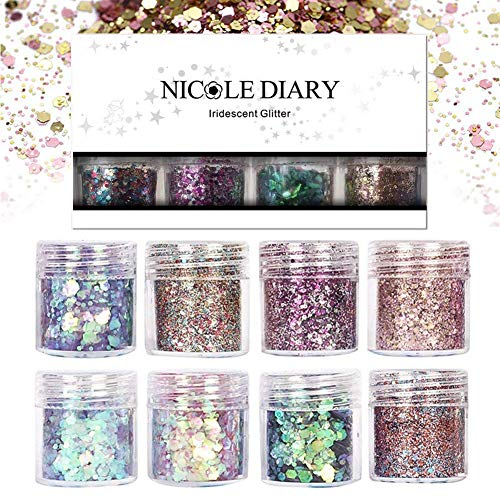 (NICOLE DIARY 8 Boxes Chunky Glitter Nail Sequins Iridescent Flakes Ultra-thin Tips Colorful Mixed Paillette Festival Glitter Cosmetic Face Hair Body Glitter Nail)
