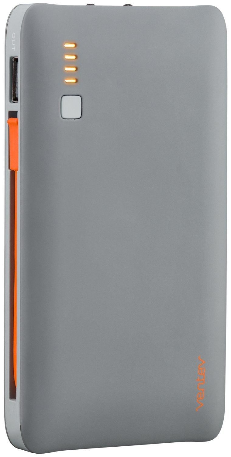 Ventev Powercell 6010+ Portable Lightning Charger | Attached Lightning Cable, Light and Perfect for Travel, High Speed Charging, Folding AC Prongs, Ultra Compact External Battery Pack | Gray