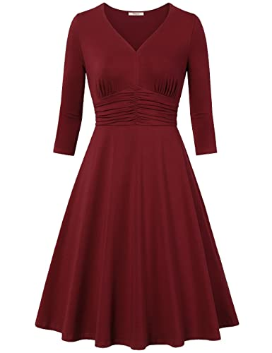 Bebonnie Women's 3/4 Sleeve Ruched Waist A Line Classy Casual Party Cocktail Dress