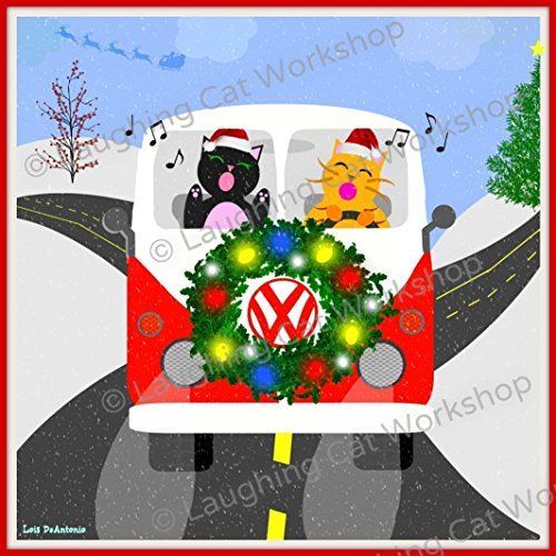 Funny Christmas Print, Christmas Carol print, VW Volkswagen wall decor, Cute Christmas decor, Funny Holiday print, cat lover gift, Christmas cat wall art