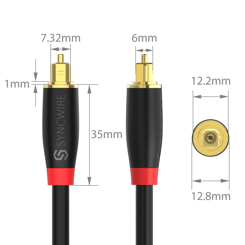 Freebox Amplificateur Xbox PS4 TV Playstation Sound Bar Syncwire Cable Optique Audio Num/érique Cordon Fibre Optique Toslink Digital 24K Platinum Male /à Male pour HiFi Home Cin/éma 1.8M Noir