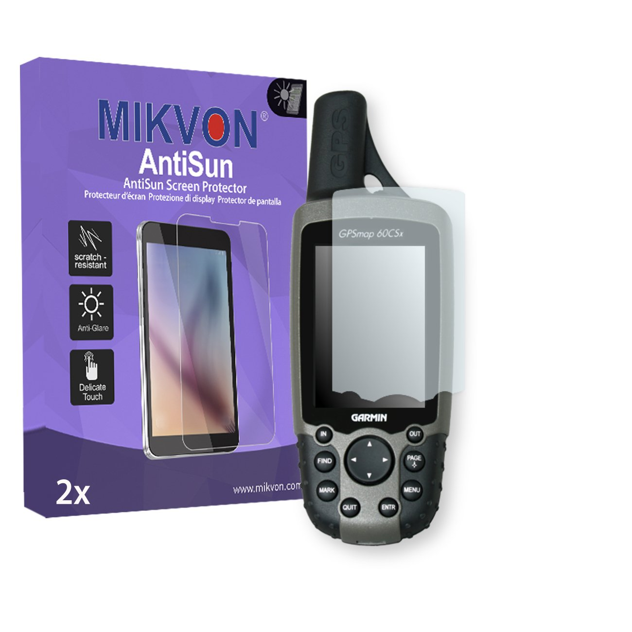 MIKVON 2X AntiSun Screen Protector for Garmin GPSMAP 60 CSX - Retail Package with Accessories