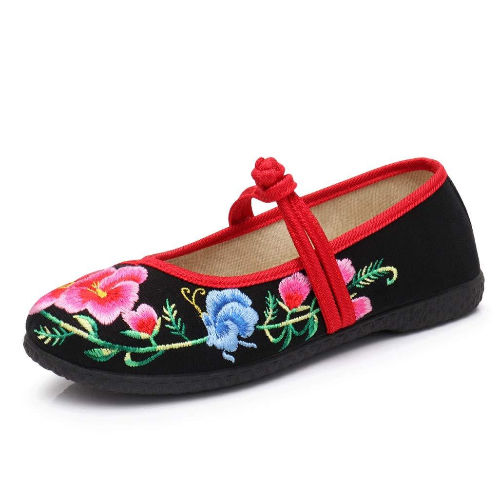 XHX Noir Chaussures De Taille Broderie À Plat Chaussures De La Femme Chaussures en Tissu Respirant Chaussures Antidérapantes Décontractées Chaussures Mère Noires (Couleur : Noir, Taille : 36) Noir 7b8ed76 - deadsea.space