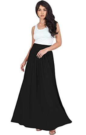 e3f0e95704f6 KOH KOH Petite Womens Long Flowy Cute Modest High Waist Floor Length  Pockets Casual Semi Formal