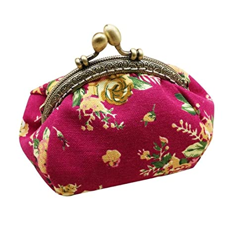 Carteras Para mujer Vovotrade Mujer retro flor pequeña cartera (Rosas fuertes)