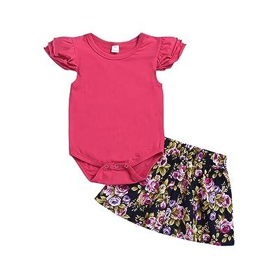 PinkLu Primavera Verano niña Sin Mangas Color sólido Rosa Mono ...