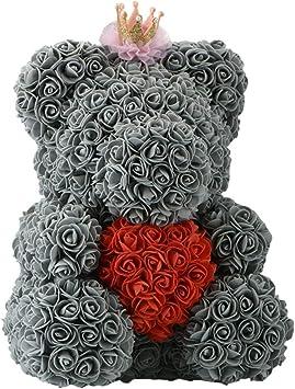Amazon.com: Oso de peluche, decoración de rosa artificial ...