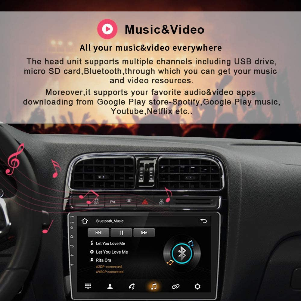 """Rearview Input Android 9.1 Double Din 2.5D IPS Screen Car Stereo Support FM Radio WiFi/&GPS,Mirror Link for Android//iOS,Steering Wheel Control 10.1/"""" Touch Screen Car Radio with Bluetooth"""