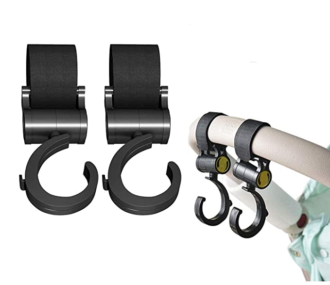 2Pc Stroller Hooks Stroller Accessory Silver Carabiner Hanger Stroller Clip Hook
