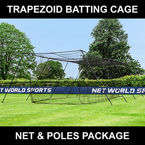 Fortress Trapezoid Baseball Batting Cage [Complete Package] - Softball Hitting Cage Net (70ft (70' Batting Cage Frame)