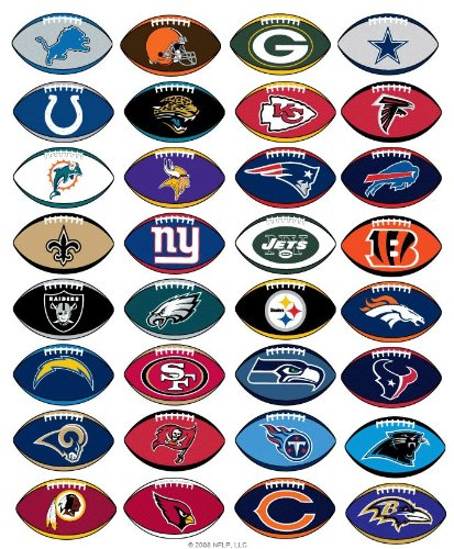 50 NFL Stickers Football shape 1 Complete Set plus 18 extras