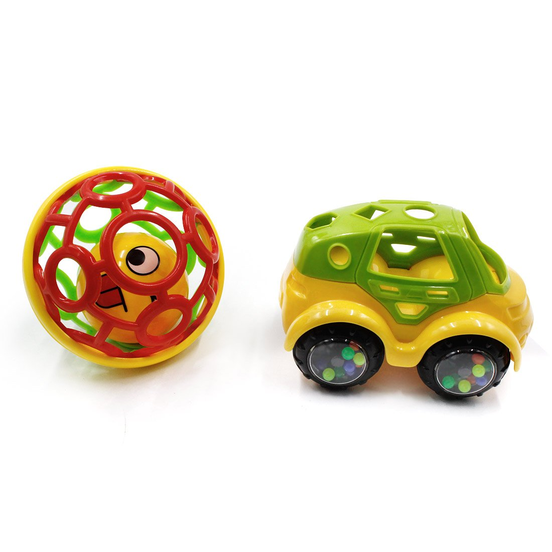 BEIHUI Baby Infant Rattle Roll Teething Ball Car Toys Soft Rattles Teethers Toddler Play Toy Car Newborn Bendy Ball Toy For 3 Months, 2 Pack