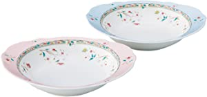 Curry & Pasta Bowl switched colors pair set 26cm 690cc flower calico two pink-blue bone china P97898 / 4409-56