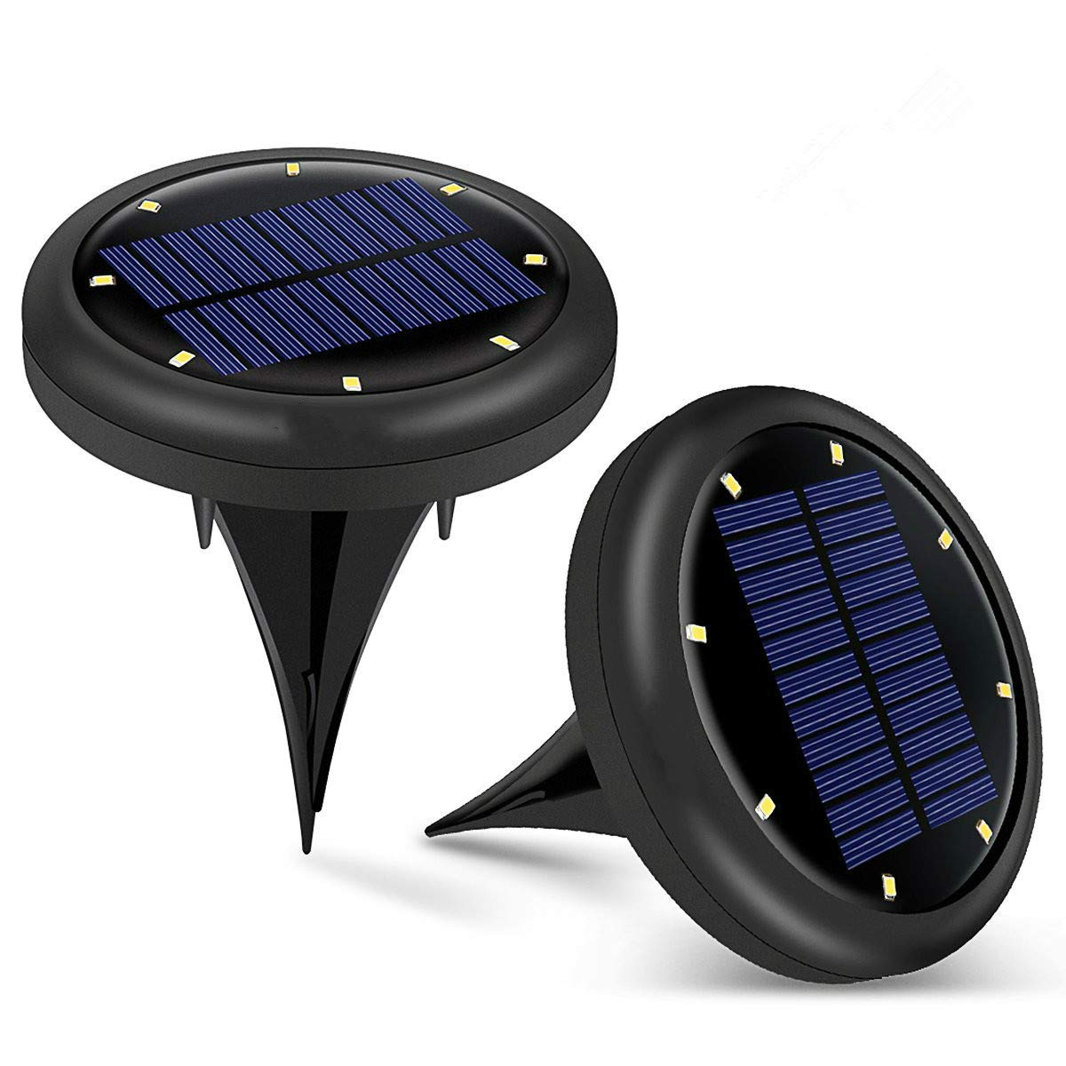 Solar Ground Lights Outdoor, 8 LED Waterproof Sensor Lawn Light Landscape Powered Light for Backyard, Garden, Pathway