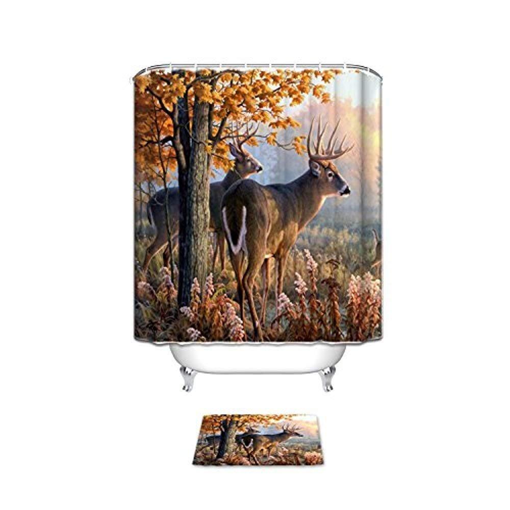OneHoney Autumn Nature Wildlife Animal Deers Hunting Season,Waterproof Polyester Fabric Bathroom Shower Curtain Set with Bath Mats Rugs 36 x 72 inch & 23.6x15.7inch