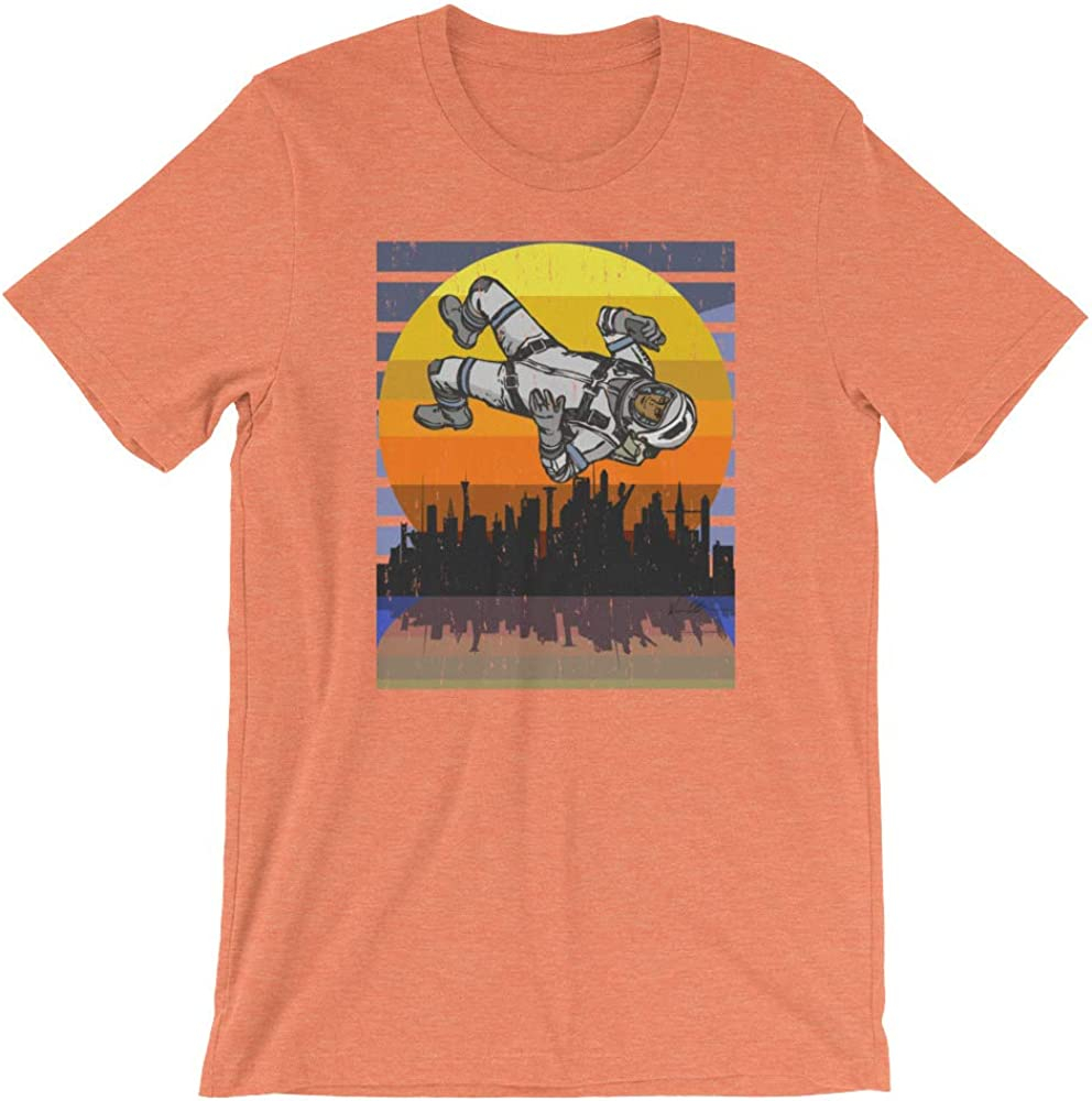 Cool Graphic Skyline Astroworld Space Force Funny Tee Heather Orange Unisex T-Shirt Astronaut in Space