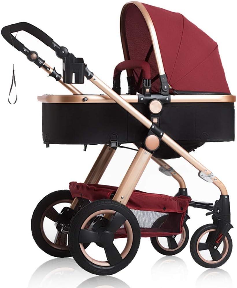 WWWANG Alto paisaje 3 en 1 silla de paseo de Buggy Kid cochecito de bebé del cochecito de niño seguro y Care4 de ruedas plegable ajustable Sistema de viaje del basculador (Color : Purple)