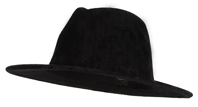 Jelord Women Velvet Wide Brim Panama Fedora Gangster Hat Black at ... 3728086e95fc