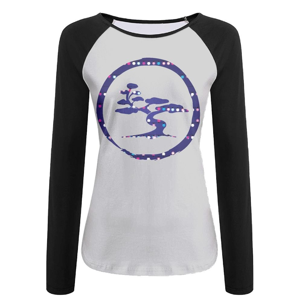 Bonsai Tree Japanese Christmas Lights Women's Printing Raglan Long Sleeve Tops Sweatshirt T-Shirt XXL