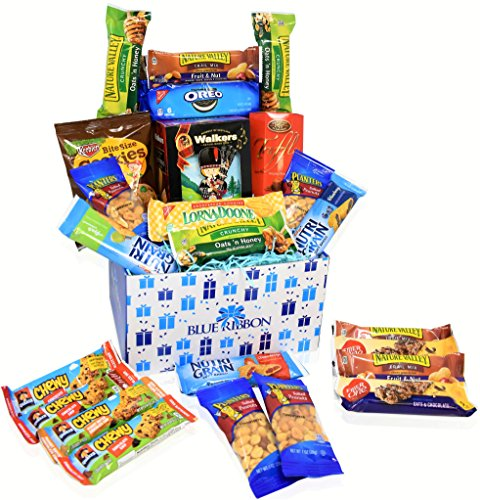 Blue Gift Basket (Care Package - Snacks, Nuts, Bars, Truffles,Walker Sortbread Cookies - Great Gift Basket Variety)