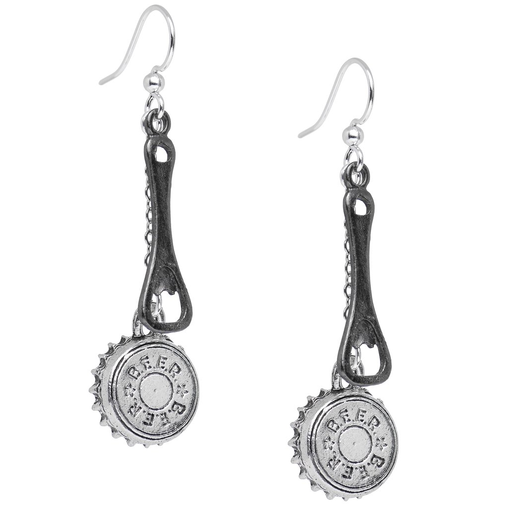 Body Candy Handcrafted Silver Plated Beer Lover Bottle Cap and Opener Dangle Earrings HC-5822