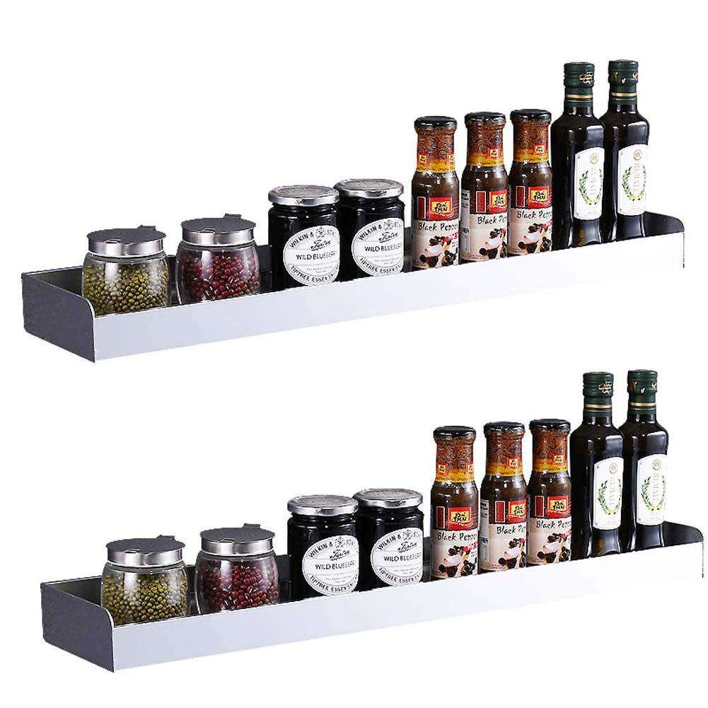 Wall-Mounted Spice Rack, 2-Layer Kitchen Counter Storage Rack for Seasoning Jars, Etc 7013.55cm