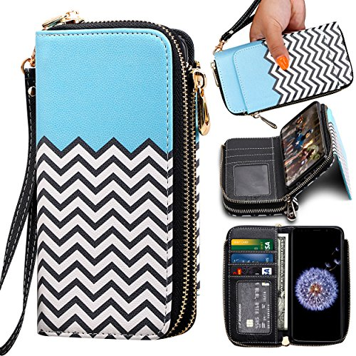 Samsung Galaxy S9 Wallet Case, ELV [PU Leather] Premium Detachable 2in1 Folio Wallet Purse Samsung S9 Credit Card Flip Case Protective with Card Slots, Stand and Magnetic Closure (Zigzag)