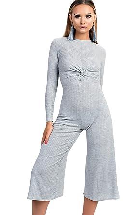 1b5e0ed860a Ikrush Womens Kansas Knot Front Wide Leg Jumpsuit Grey  Amazon.co.uk ...