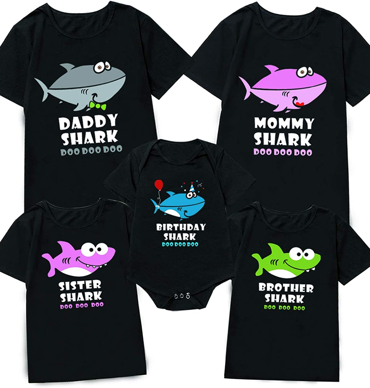 Minseng Direct Family Matching Shirts Funny Mommy Shark Tee for Women (Black,XL)