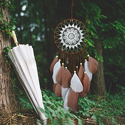 Karleksliv White and Brown feathers handmade Dream Catchers Delicate decorations Ojibwe Native Americans gifts for friends and families MS7004