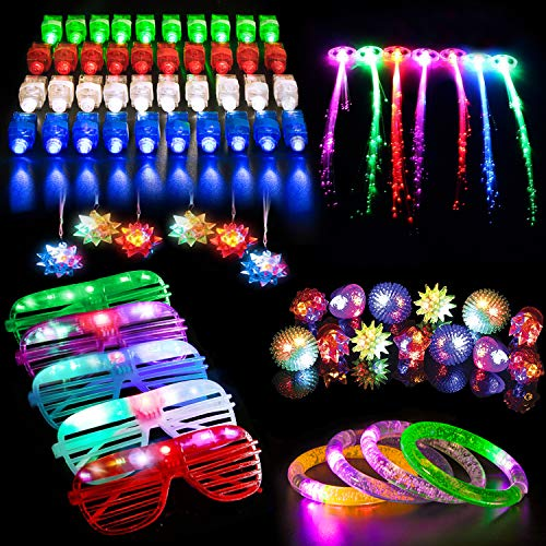 MIBOTE 67 PCS LED Light Up Toys Party Favors for Kids Glow in the Dark Party Supplies for Adults with 40 Finger Lights, 10 Jelly Rings, 5 Flashing Glasses, 4 Bracelets, 4 Fiber Optic Hair Lights and 4