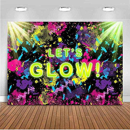 Mocsicka Glow Neon Party Backdrop 7x5ft Let's Glow Splatter Photography Background Vinyl Glowing Party Backdrops Backdrop for Pictures Neon Party Supplies Background Picture of Party Decoration