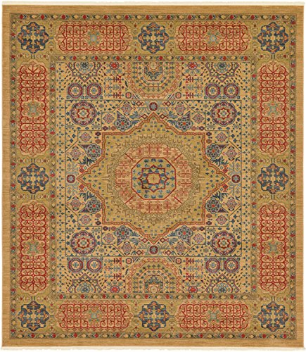 Unique Loom Palace Collection Traditoinal Geometric Classic Beige Square Rug (10
