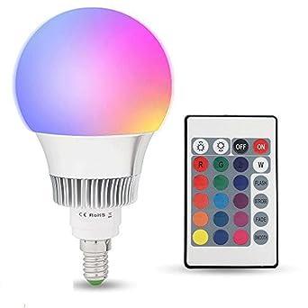 E14 10W RGBW LED Bombilla 16 Color Cambiantes Lámpara con Mando a Distancia, Múltiples Colores