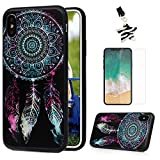 iPhone X Case, iPhone X Edition, Colorful Drawing Soft Flexible TPU Shockproof Bumper Slim Fit Cover Shell Anti-Scratch Lightweight Grip Protective Skin Case by MOLLYCOOCLE, Feather Dream Catcher