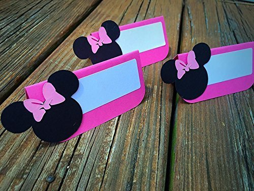12 Minnie Mouse Themed Place Cards Food Labels Buffet