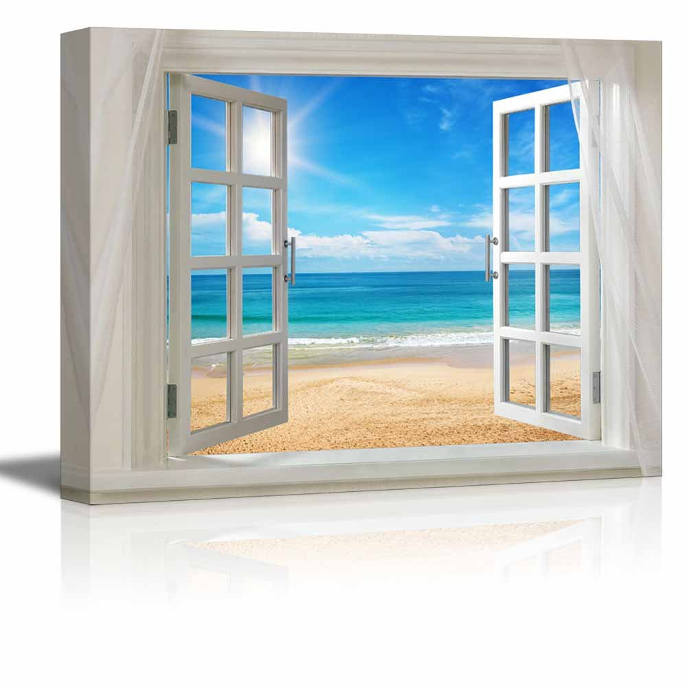 Wall26 - Canvas Prints Wall Art - Glimpse into Clear Sea and Beach out of Open Window | Modern Wall Decor/ Home Decoration Stretched Gallery Canvas Wrap Giclee Print & Ready to Hang - 36'' x 48''