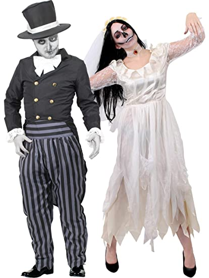 Bride And Groom Halloween Costume.Couples Ghost Bride And Ghost Groom Halloween Fancy Dress Costumes His And Hers Ghost Zombie Wedding