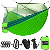 Hieha Camping Hammock with Mosquito Net, Portable Double & Single Tree Hammocks with 2 Tree Straps, Travel Hiking Hammocks fo