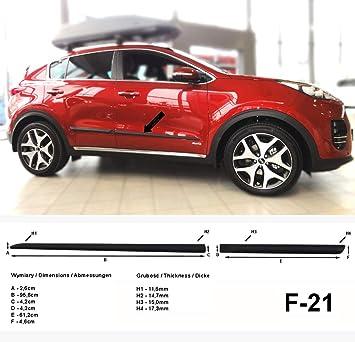 Listones de protección Lateral Negro para Kia Sportage IV SUV Tipo QL a Partir de año de construcción 09.2015- F21 (370002105): Amazon.es: Coche y moto