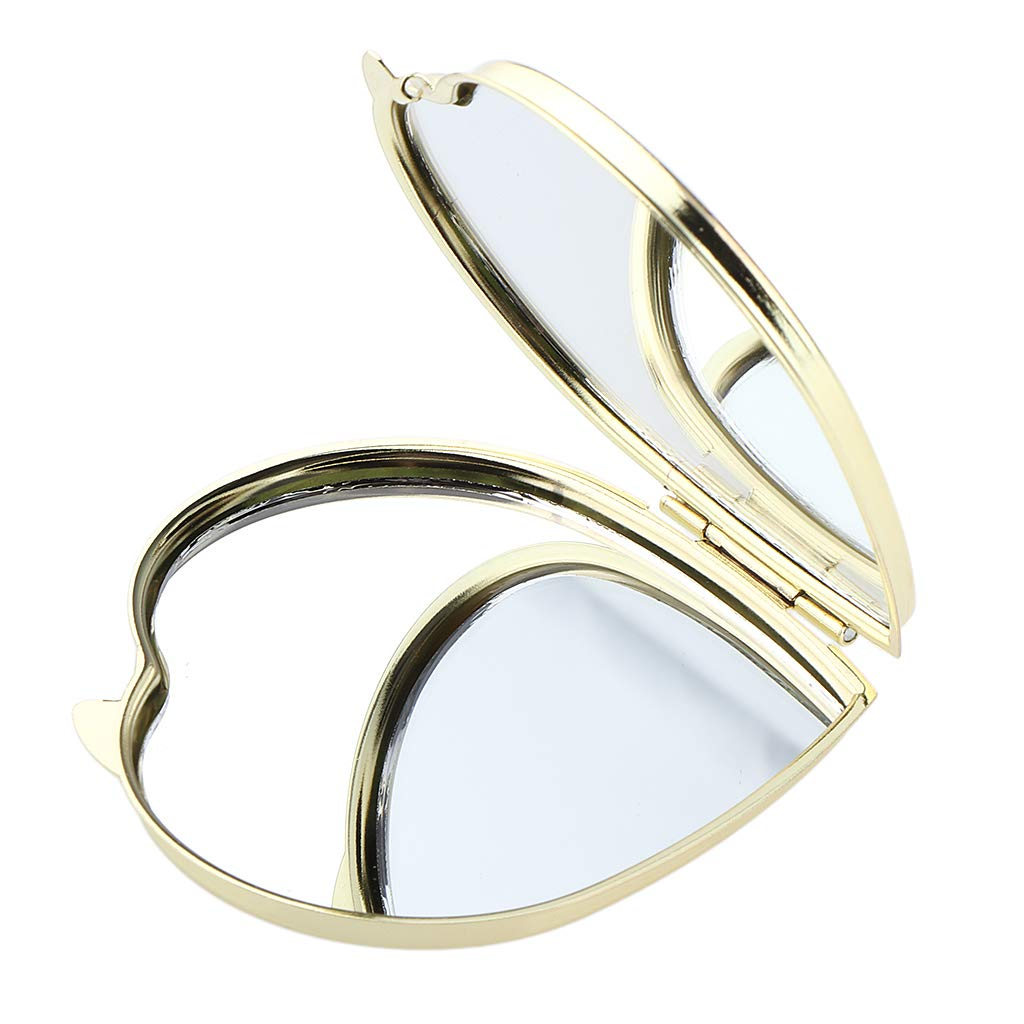 B Blesiya Double-Side Portable Makeup Mirrors, Compact Cosmetic Heart Shaped Pocket Purse Hand Mirror, Great Gift
