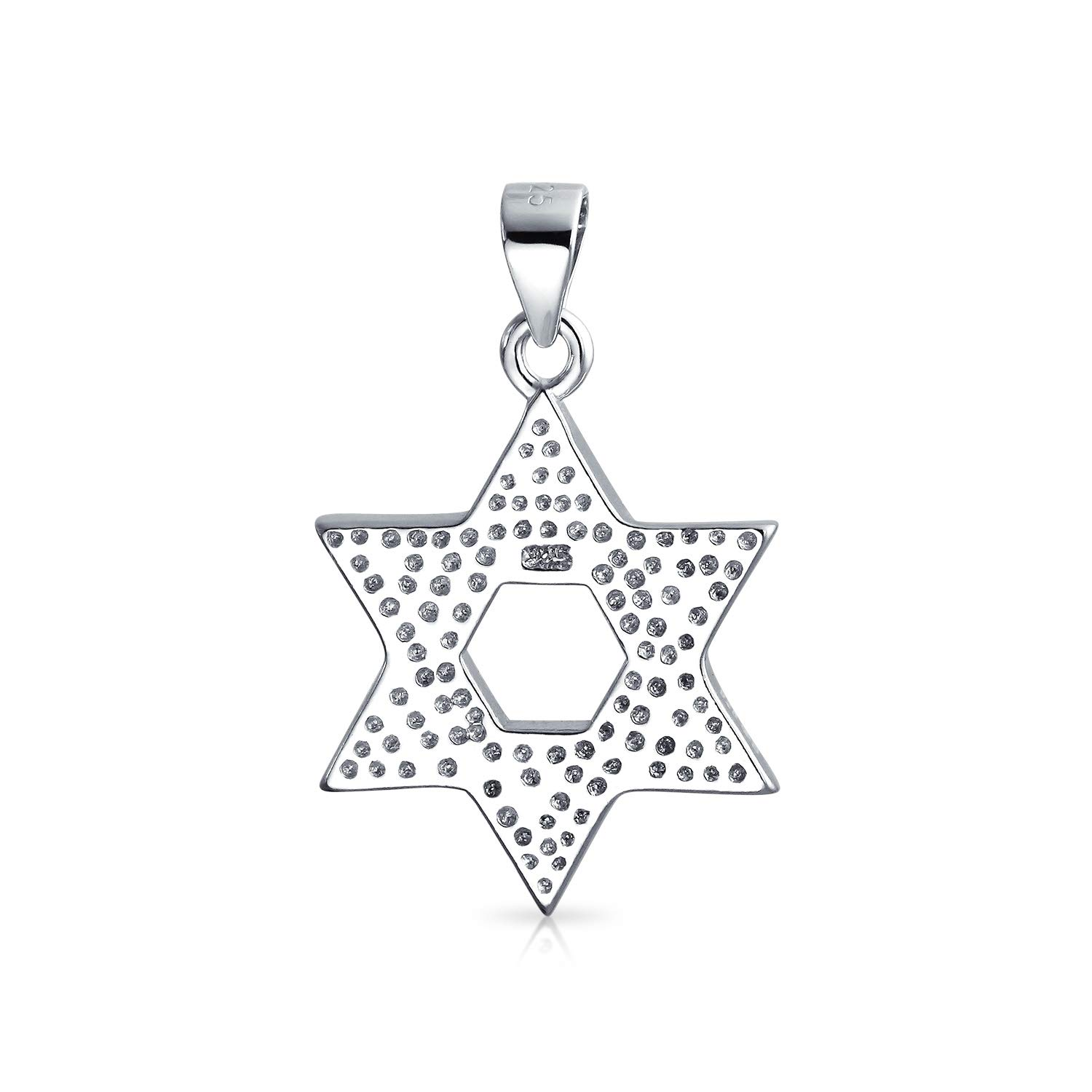 Hanukkah Magen Jewish Blue Created Opal Inlay Star Of David Pendant Necklace For Women For Teen 925 Sterling Silver