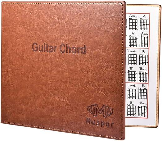 Presp Portátil 6 Secuencia de la Guitarra acordes Libro de Piel ...