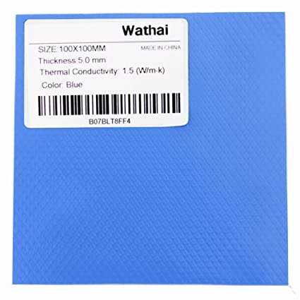 Wathai Blue 100x100mm 5mm Thickness CPU GPU IC PS3 PS2 Xbox Heatsink  Cooling Thermal Conductive Silicone Pad