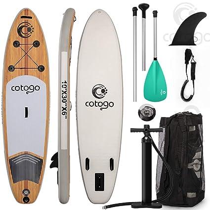 Cotogo Tabla de Surf Hinchable con Bomba, Remo, Aleta, Kit de Reparación,