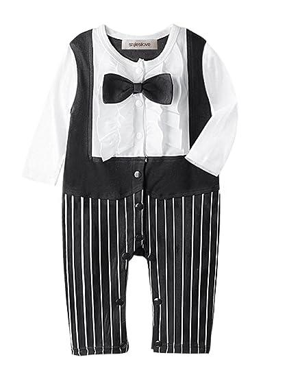 a60940e8b StylesILove Newborn Infant Toddler Baby Boy Long Sleeve Tuxedo Romper Onesie,  Black, 70/